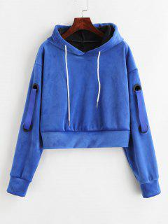 Crop Velvet Fleece Hoodie - Blue M