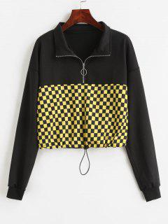 Half Zip Plaid Drop Shoulder Sweatshirt - Black S