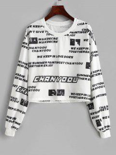 Letter Slogan Print Pullover Sweatshirt - White L