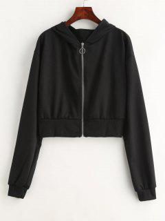 Zip Up Drop Shoulder Hoodie - Black L