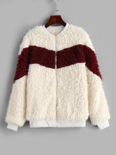 Fluffy Zip Up Color Block Teddy Jacket - Warm White L