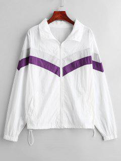 Color Block Jacke Mit Reißverschluss - Weiß S
