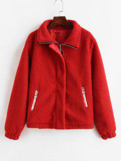 Fluffy Zipper Boxy Teddy Jacket - Red S