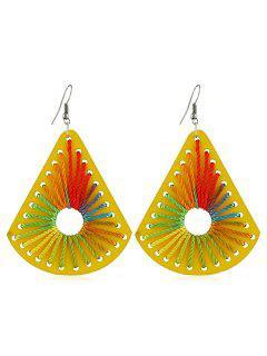 Boho Geometric Design Wooden Earrings - Yellow