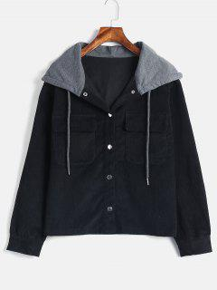 ZAFUL Snap Button Corduroy Hooded Jacket - Black L