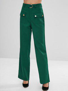 High Waisted Palazzo Wide Leg Pants - Deep Green M