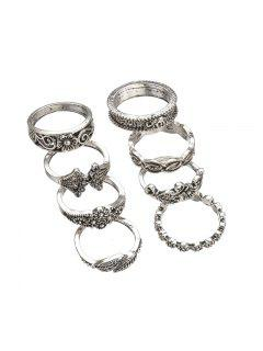 8pcs Hollow Out Design Alloy Rings - Silver