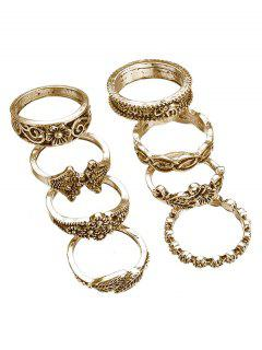 8pcs Hollow Out Design Alloy Rings - Gold