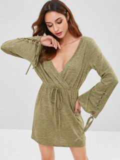 ZAFUL Lace Up Surplice Knitted Dress - Fern Green S