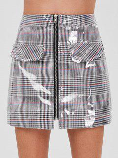 ZAFUL Faux Pockets Zip Front Plaid Skirt - Multi Xl