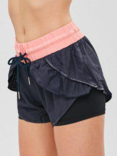 Perforated Color Block Overlay Sport Shorts - Black L