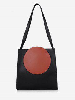 Round Pattern Large Capacity PU Shoulder Bag - Orange