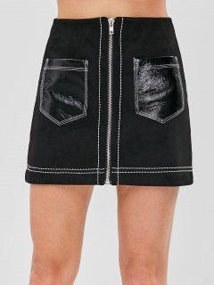 Faux Suede Patch Pocket Zip Up Mini Skirt - Black Xs