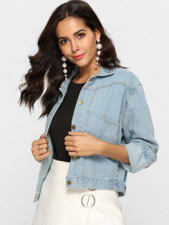 Front Pocket Denim Jacket - Light Blue Xl