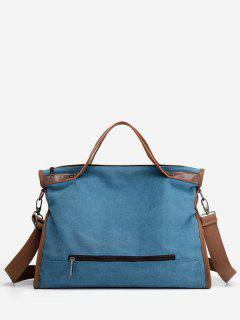 Large Capacity Solid Color Tote Bag - Blue Ivy