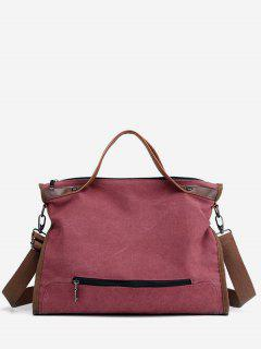 Large Capacity Solid Color Tote Bag - Pale Violet Red
