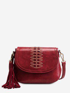 Geometric Design Tassel Crossbody Bag - Rose Red