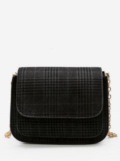 Plaid Pattern Chain Link Crossbody Bag - Black