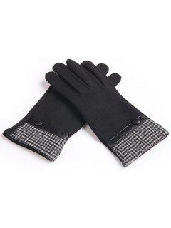 Houndstooth Full Finger Winter Gloves - Black