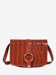 Patent Leather Hook Decoration Crossbody Bag - Brown