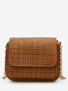 Plaid Pattern Chain Link Crossbody Bag - Brown