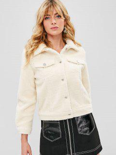 Button Up Fluffy Coat - Crystal Cream