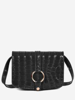 Patent Leather Hook Decoration Crossbody Bag - Black