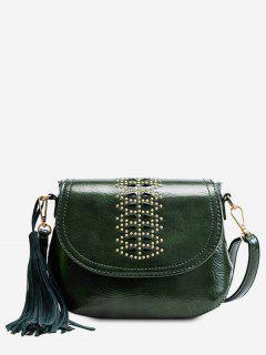 Geometric Design Tassel Crossbody Bag - Deep Green