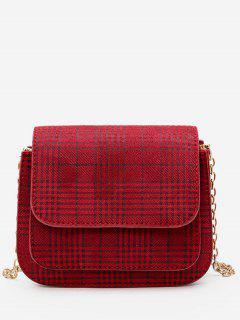 Plaid Pattern Chain Link Crossbody Bag - Red