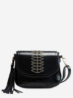 Geometric Design Tassel Crossbody Bag - Black