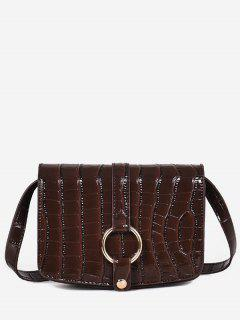 Patent Leather Hook Decoration Crossbody Bag - Coffee