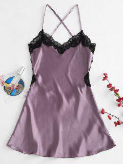 Lace Insert Backless Slip Lingerie Dress - Viola Purple M