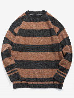 Stripe Knit Casual Sweater - Light Brown L