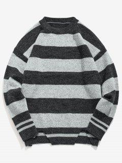 Stripe Knit Casual Sweater - Light Gray 2xl
