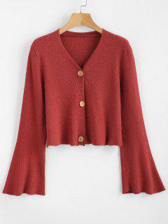 Button Up Mangas Flare Cardigan - Rojo Cereza