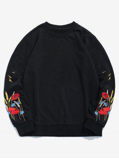 Flower Plant Embroidered Sweatshirt - Black S