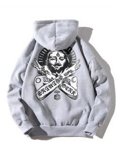 Ancient Pharaoh Pattern Kangaroo Pocket Hoodie - Light Gray L
