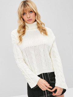 Turtleneck Drop Shoulder Cable Knit Sweater - White