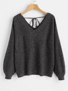 V Neck Drop Shoulder Oversized Sweater - Black L