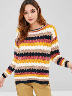 Striped Velvet Slit Sweater - Multi