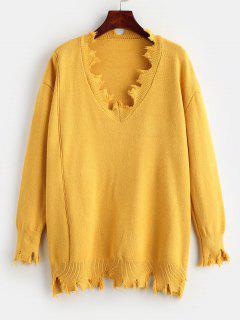 Oversized Ripped Sweater - Mustard