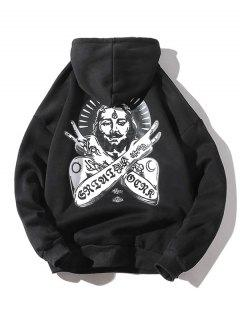 Ancient Pharaoh Pattern Kangaroo Pocket Hoodie - Black Xl