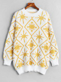 Drop Schulter Pullover Graphic Sweater - Weiß
