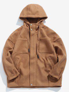 Casual Pocket Woolen Jacket - Dark Goldenrod Xl