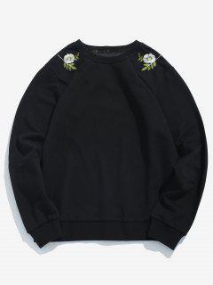 Blumen-Blätter Gesticktes Grafisches Sweatshirt - Schwarz M