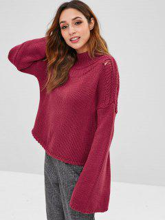 ZAFUL Flare Sleeve Mock Neck Pullover - Roter Wein