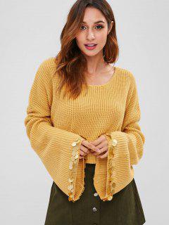 ZAFUL Flare Sleeve Sequins Sweater - Bee Yellow