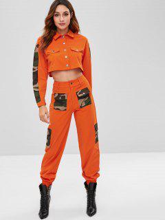 ZAFUL Camo Panel Hemd Und Taschenhosen Set - Halloween Orange Xl