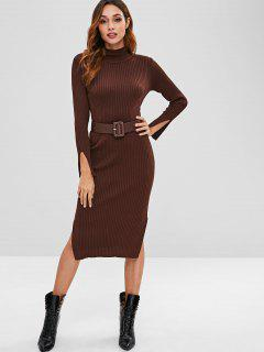 Ribbed Belted High Neck Slit Dress - Coffee