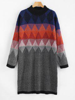 Geometric Graphic Heathered Sweater Dress - Multi